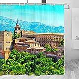 España Alhambra Cortina de ducha Viaje Decoración de baño Set con ganchos Poliéster 72x72inch (YL-05225)