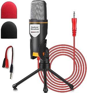 SEEDARY Micrófono con Soporte para PC y iPhone, SemiProfesional Micrófono Condensador de 3,5 mm Jack con Cable Divisor de ...