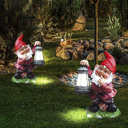 2er Set LED Solar Garten Leuchten Zwerg Außen Balkon Steh Lampe Figur bunt Akku
