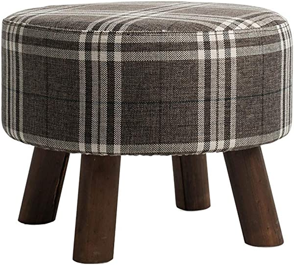 Solid Wood Shoes Bench Round Footstool Large Dressing Stool Makeup Stool Multi Function Stool