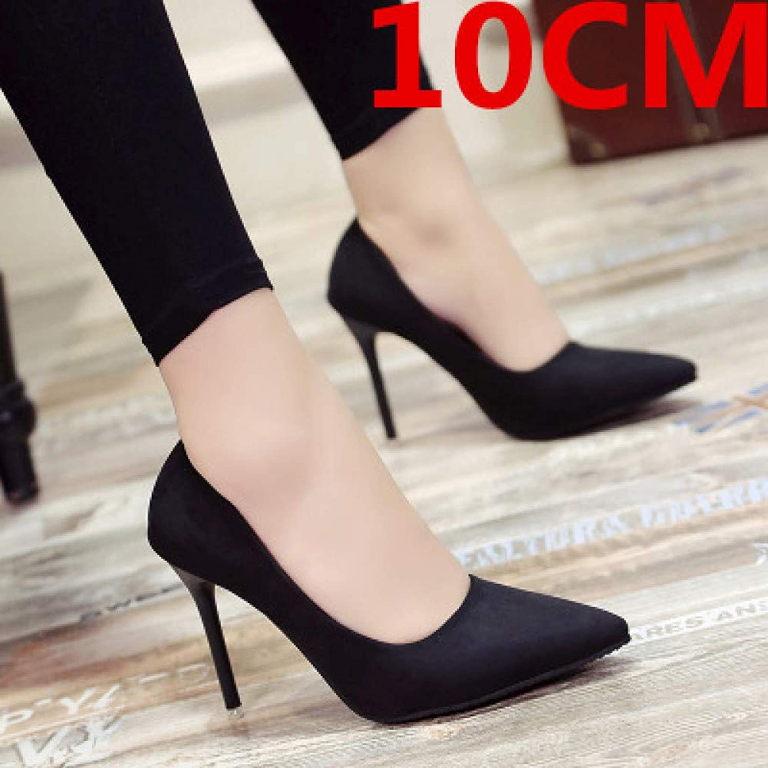 LIHUIYUN shoes New 10cm Black Pointed High Heels Stiletto Shallow Mouth Wild Women's Single shoes Professional Work shoes
