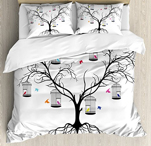 Flying Birds Decor Duvet Cover Set by Ambesonne, Silhoutte of a Scary Winter Tree and Colorful Love Birds Sitting in Cage Artprint, 3 Piece Bedding Set with Pillow Shams, King Size, Black White