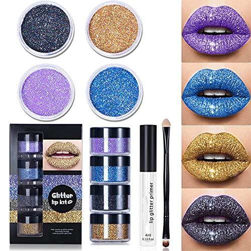 Glitter Lips, Glitter Lip Kit, Lip Gloss Matte Glitter, Lip Gloss Wand Set, Lipstick Set Kit, Lip Glaze Lipstick Set Lasting Lip Kit Liquid Lipstick with Lip Primer and Brush (Blue Gold, Set B)