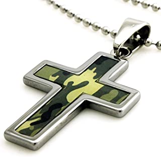 Tungsten Green Abstract Soldier Camouflage Print Cross Pendant - 24 inches