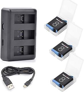 Newmowa Batería de Repuesto (3-Pack) y Kit de Cargador para Micro USB portátil para Gopro Hero8