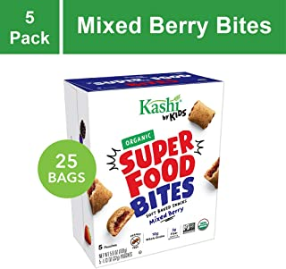 Kashi by Kids Super Food Mixed Berry Bites - Soft Baked Organic Snacks | 5 Count (Pack of 5)