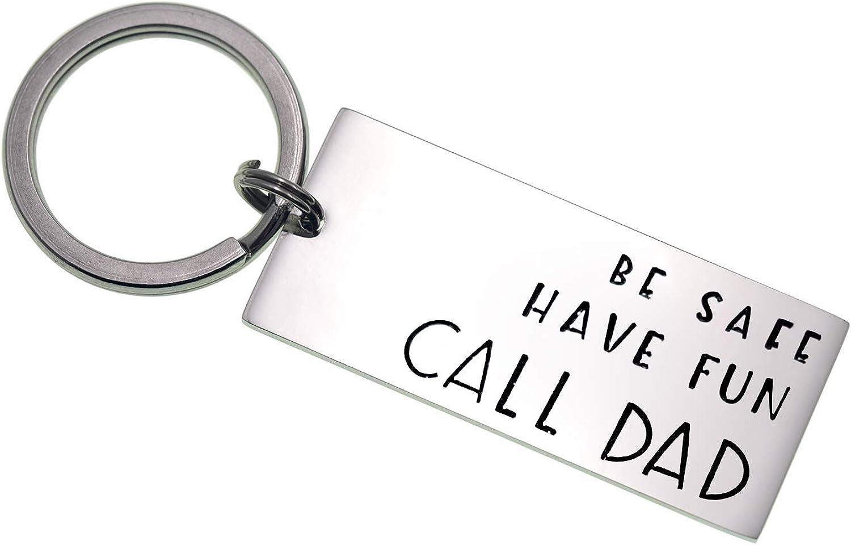 Queyuen Be Safe Have Fun Call Dad Driver Keychain Teen Birthday Gift Daughter Son Keychain Gift Stocking Stuffer