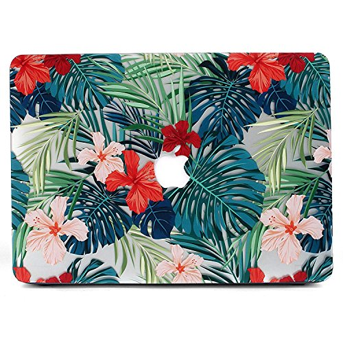 """Coque MacBook 12 pouces, L2W Matte Print Tropical Palm Leaves Pattern Coated PC Housse de protection dure Coque pour Macbook 12 """"inch With Retina Display (Modèle A1534) - Palm leaves & Red Flowers"""