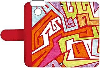 スマQ LG Style3 L-41A 国内生産 ミラー スマホケース 手帳型 LG エルジー エルジー スタイル スリー 【C.レッド】 カラフル 幾何学模様 ami_vd-0156