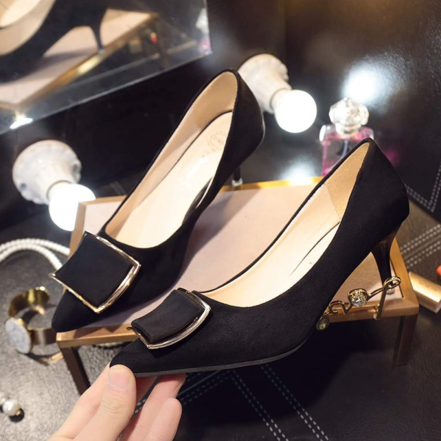 UKJSNHH igh Heels Office shoes Pointed Toe Slip on shoes Woman Pumps Nuback Leather Women Dress shoes Ladies Boat shoes
