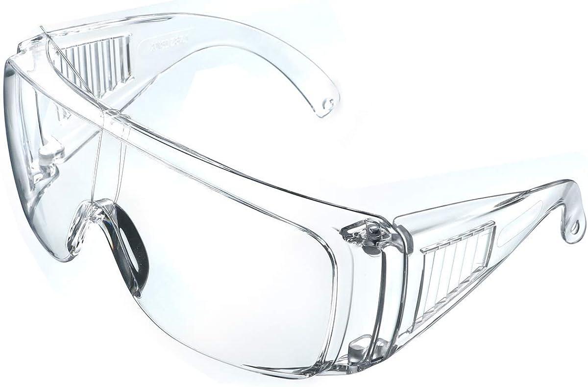LogicaShop 1 gafas protectoras sanitarias Virus certificado EN166, protección de los ojos, química, antivaho, transparentes, laboratorio, químico, para trabajo y hombre, de prevención de accidentes.