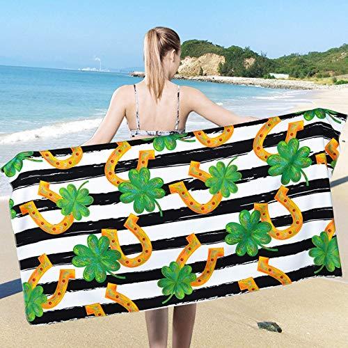 Toalla de playa para el día de San Patricio, toallas de playa de trébol, suaves y grandes, toallas de baño de playa, multiusos para baño, hotel, gimnasio y spa (80 x 150 cm)