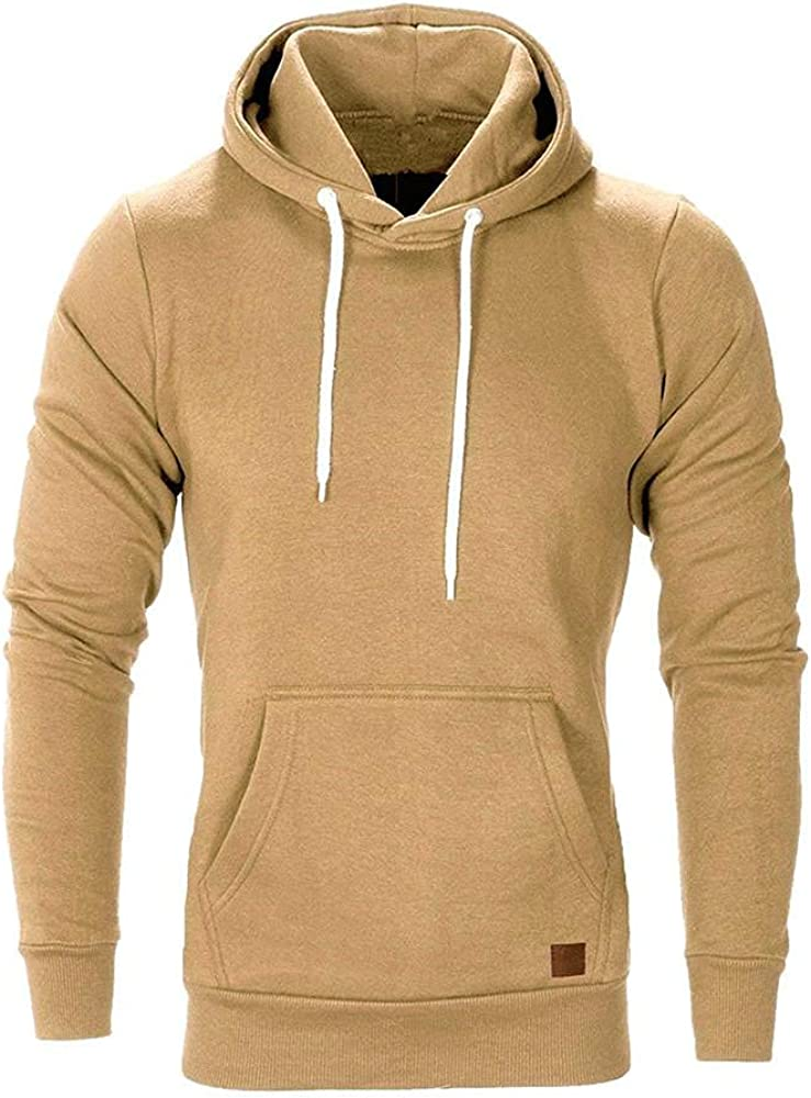 Qsctys Mens Fashion Athletic Hoodies Sports Men's Sweatshirt Lightweight Hooded Solid Color Fleece Pullover College Clothing
