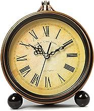 鉄レトロ小さな目覚まし時計シンプルなメタルミュート多機能ファッションベッドクリエイティブパーソナリティホームバラエティ13.5センチ* 15.5センチ CHENGYI (Color : Vintage)