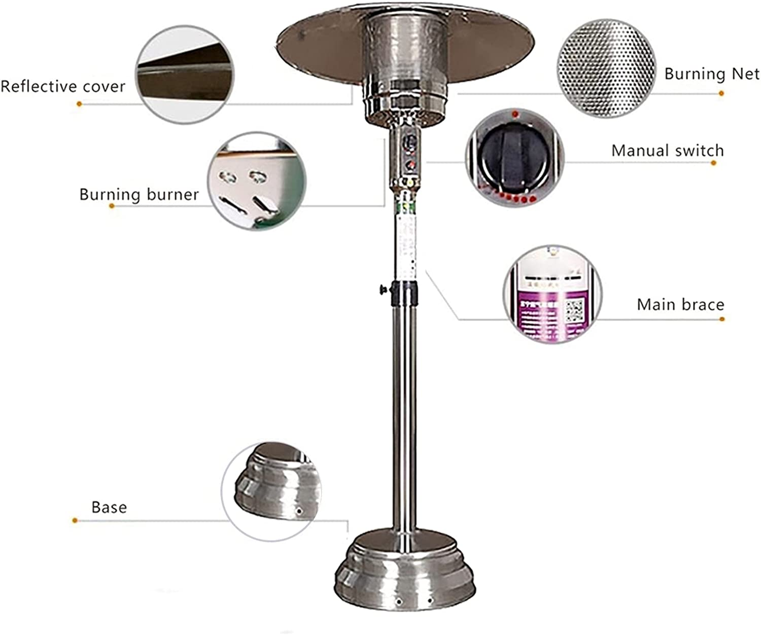 alpha-ene.co.jp 55-78in Patio Heater,Outdoor Heater For Natural ...