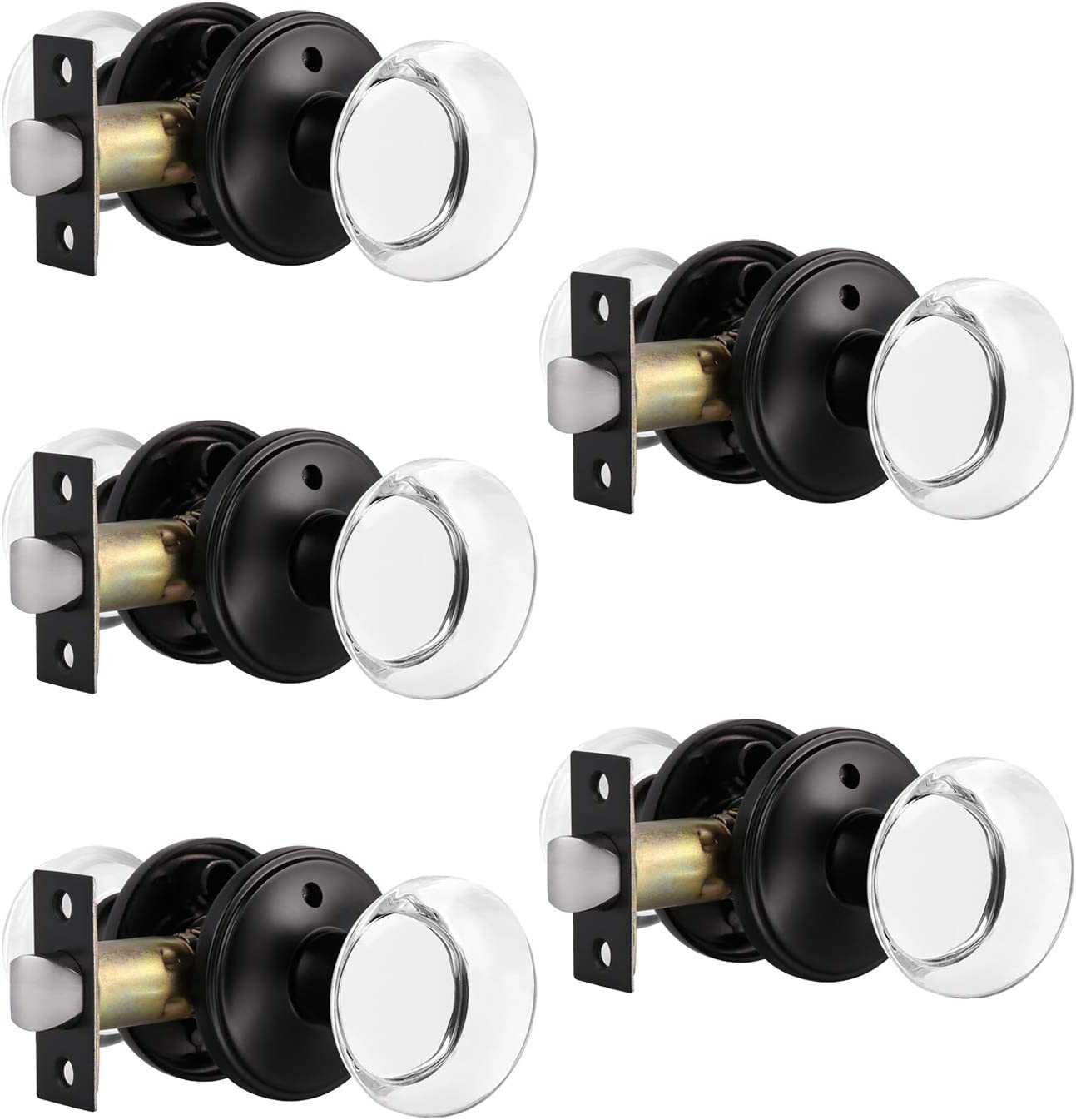 Probrico Minneapolis Mall Clear Glass Crystal Door Knobs Limited price sale Lock Duty Rea with Heavy