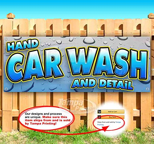 Hand CAR WASH and Detail 13 oz Heavy Duty Vinyl Banner Sign with Metal Grommets, New, Store, Advertising, Flag, (Many Sizes Available)