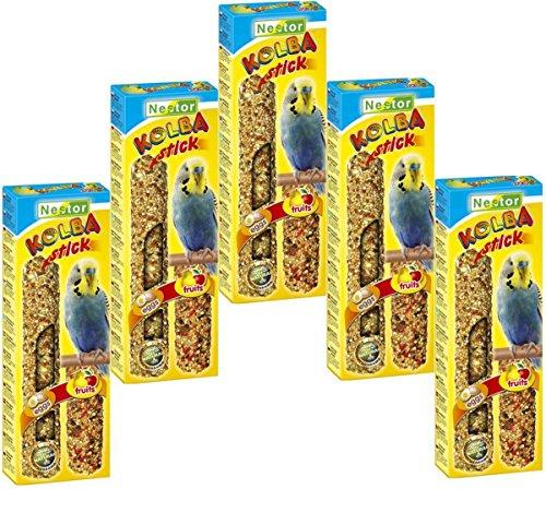 NESTOR Vogelfutter Wellensittich mit Ei + Frucht 5 Packungen a 2 Knabbersticks