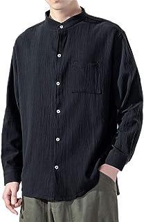 MakingDa Men's Cotton Linen Long Sleeve Casual Shirt Grandad Collar Pocket Plain Comfortable Tshirt Cardigan Top