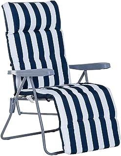 Cisne 2013, S.L. Cojín para Silla con Respaldo Alto, Cojín para Tumbona. Almohadilla Antideslizante para sillón Plegable (180 x 50 x 5cm) (Silla no incluida) (Azul)