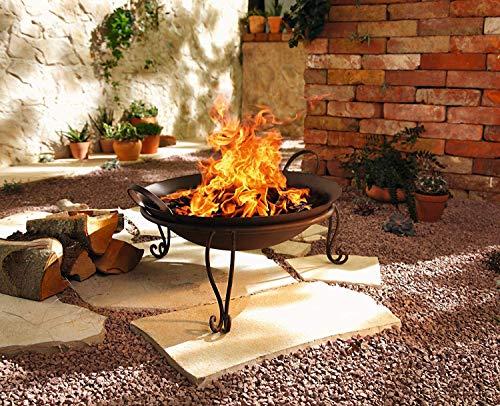 Dekoleidenschaft Feuerschale Rostoptik aus Metall, mit Standfuß, Terrassenofen, Feuerstelle
