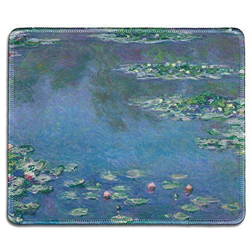 dealzEpic - Art Mousepad - Natural Rubber Mouse Pad with Famous Fine Art Painting of Water Lilies in The Pond (Nympheas) by Claude Monet - Stitched Edges - 9.5x7.9 inches
