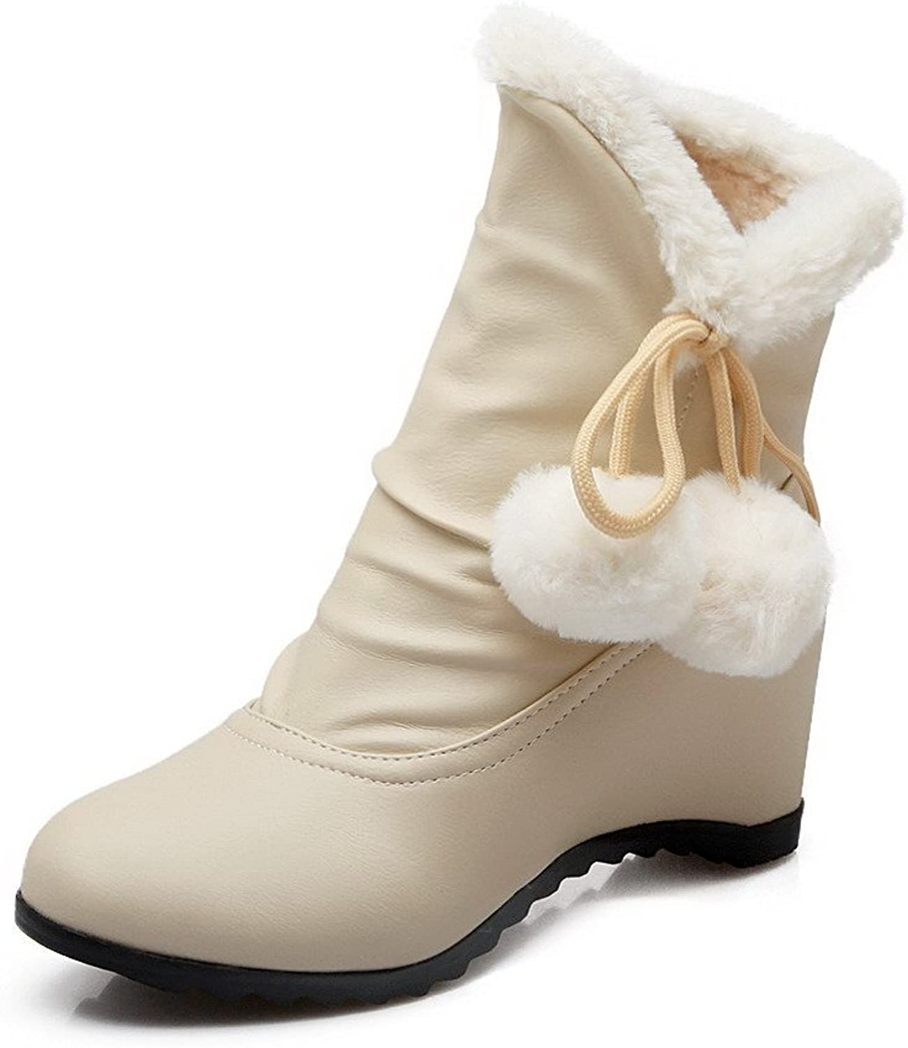 WeiPoot Women's Round Closed Toe Low-top Kitten-Heels Solid PU Boots with Bows