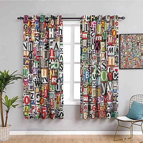 ZLYYH Cortinas 26 letras inglesas coloridas arte 117x138cm Cortina opaca 95% cortinas opacas que bloquean cortinas para ventana para habitación de niños, sala de estar, dormitorio, juego de 2