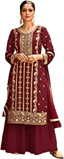 فستان نسائي أحمر هندي أنيق مسلم مطرز ثقيل من جورجيت فستان مصمم للحفلات 6076