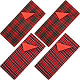 4 Pieces Christmas Elf Sleeping Bags Red Plaid Elf Doll Sleeping Bag for Elf Doll Christmas Decorations Elf Doll Accessory (Doll is Not Included)