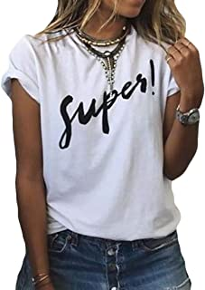 Domple Women Summer Letters Print Round Neck Short Sleeve Tee Shirts Blouse Top