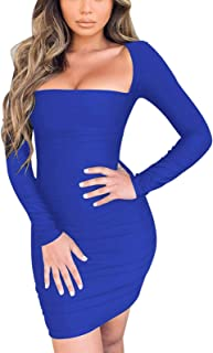 Womens Sexy Scoop Neck Square Cut Long Sleeve Bodycon Party Club Dresses