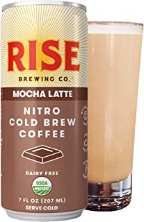 RISE Brewing Co.   Mocha Nitro Cold Brew Latte (12 7 fl. oz. Cans) - USDA Organic, Non-GMO   Vegan & Dairy Free   Clean Energy, Low Acidity, Slightly Sweet & Refreshingly Smooth   150 Calories