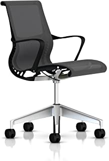 Herman Miller Setu Ergonomic Office Chair with Kinematic Spine | H-Alloy Base and Hard Floor Casters | Graphite Frame and Alpine Lyris Fabric