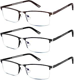 3 Pack Reading Glasses for Men, Metal Frame Blue Light Blocking Reading Glasses