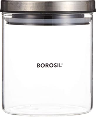 Borosil Classic Glass Jar for Kitchen Storage, 600 ml