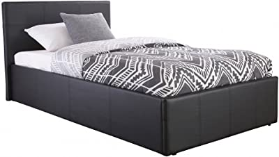 Home Source- Lit coffre contemporain à vérin à gaz, en simili cuir noir, cadre de lit avec espace de rangement, Imitation cuir, noir, Double petit