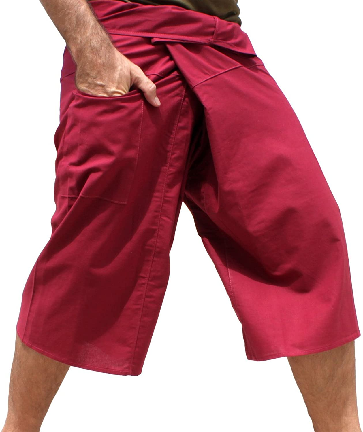 Raan Pah Muang Plain Thin Strong Cotton Thai Fisherman Capri Wrap Pants