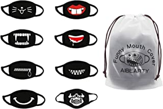 AIBEARTY 8 Pack Unisex Cute Funny Cotton Washable Resuable Mouth Cover for Party Festival Cosplay,Black