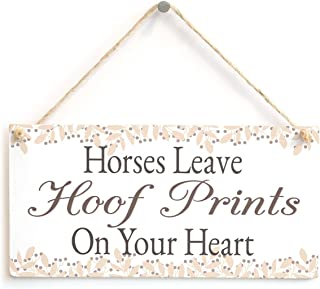 "Meijiafei Horses Leave Hoof Prints On Your Heart - Lovely Horse Gift Plaque for Horse Lovers 10"" x 5"""