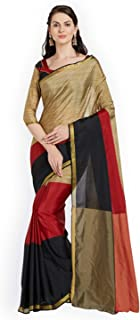 Indian Handicrafts Export Florence Women Gold-Toned & Red Colourblocked Saree