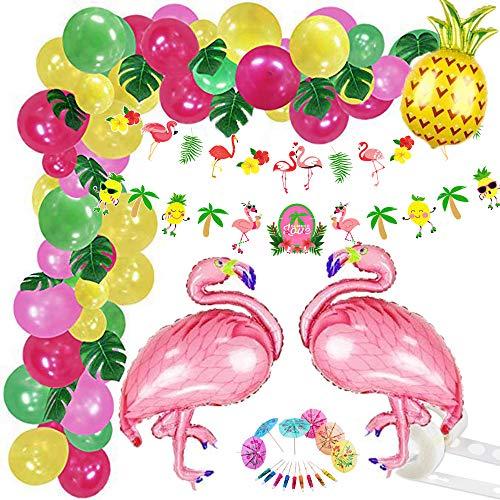 151Pcs Tropical Balloons Garland Kit Hawaiian Party Decoration Summer Decoration Set Luau Balloon Arch Garland with Palm Leaves Flamingo Balloons Hawaiian Banner for Hawaiian Party Decorations