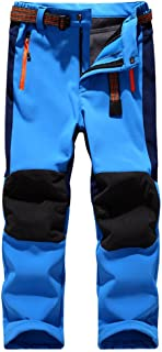 Jessie Kidden Kids' Outdoor Hiking Soft Shell Windproof Pants, Warm Climbing Trousers Boys Girls #16010