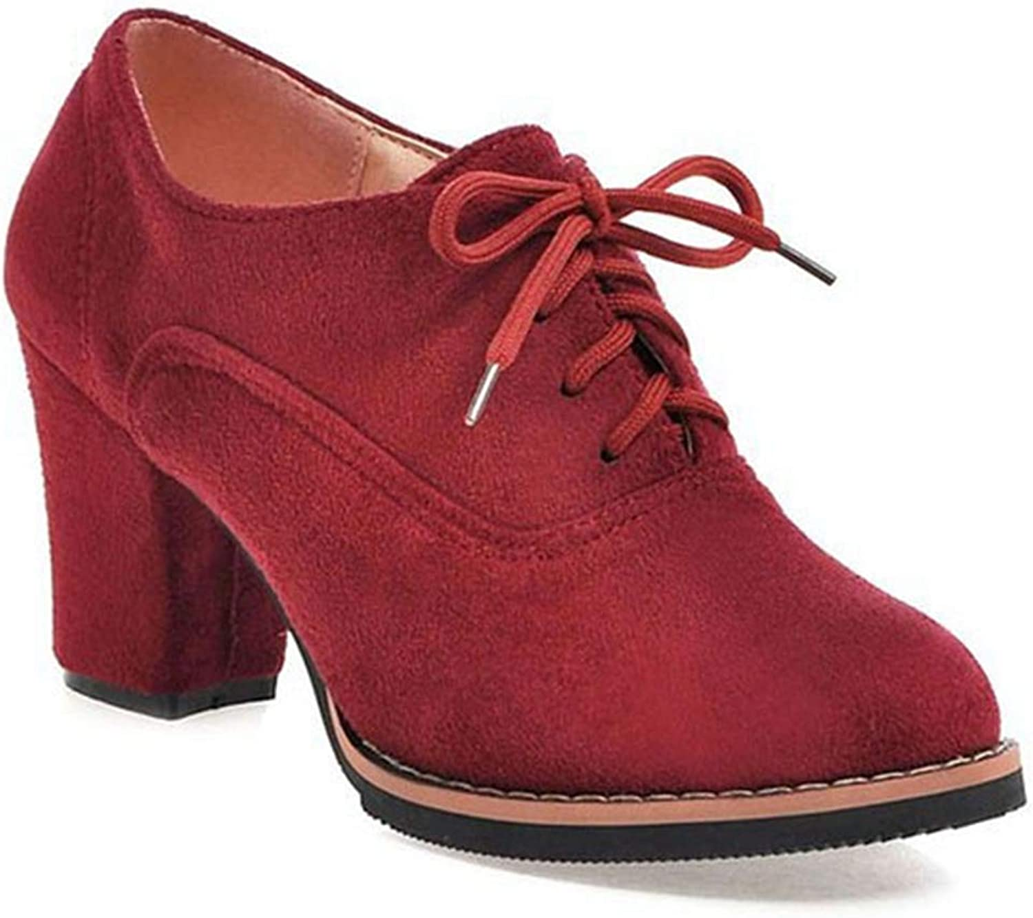 Fashion shoesbox Women's Casual Platform Lace Up Half Ankle Boots Suede Chunky Block Heel Bootie Oxfords Short Boot