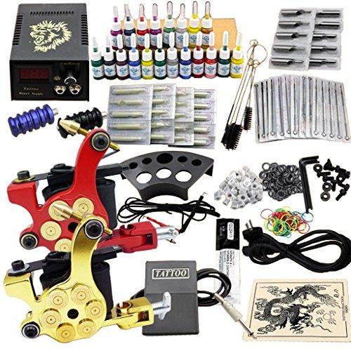 Tattoo equipos del Tatuaje Completo 2 Maquina de Tatuaje, Hansemay Profesional del tatuaje completo kit 2 ametralladoras de 20 colores/tinta tintas tatuaje de la aguja de la máquina Set (JM11)