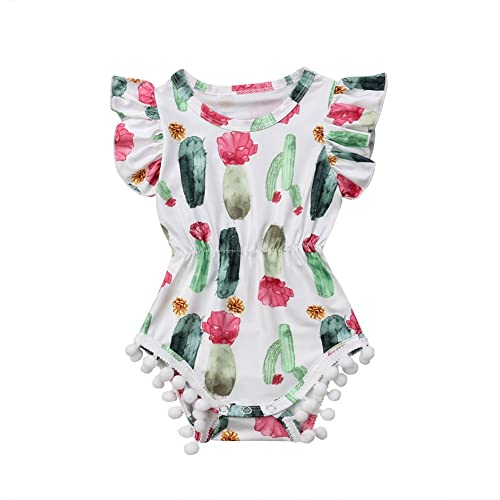 dcf92eda22 Newborn Baby Girl Cactus Bodysuit Floral Ruffle Sleeve Tassel Romper  Playsuit Outfit Clothes Green