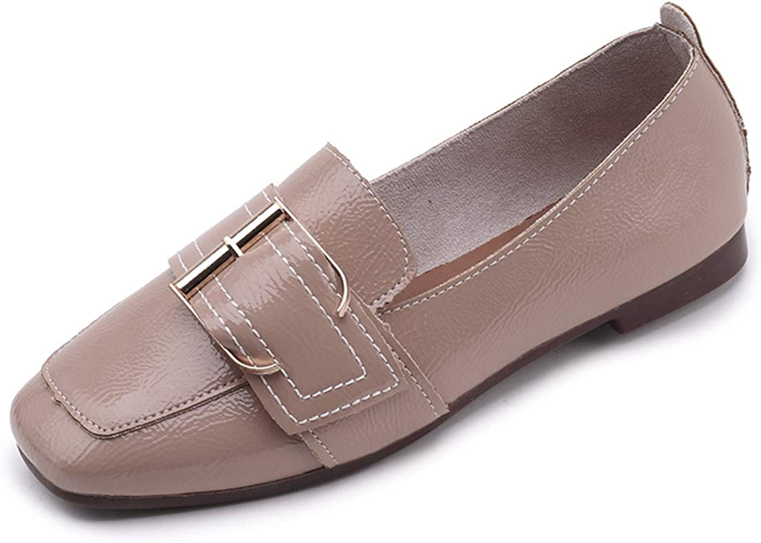 Owen Moll Women Flats, Casual Square Toe Slip-on Patent Leather Buckle Loafers shoes