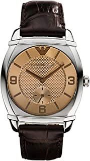 Emporio Armani Mens Quartz Watch, Analog Display and Leather Strap, AR0343