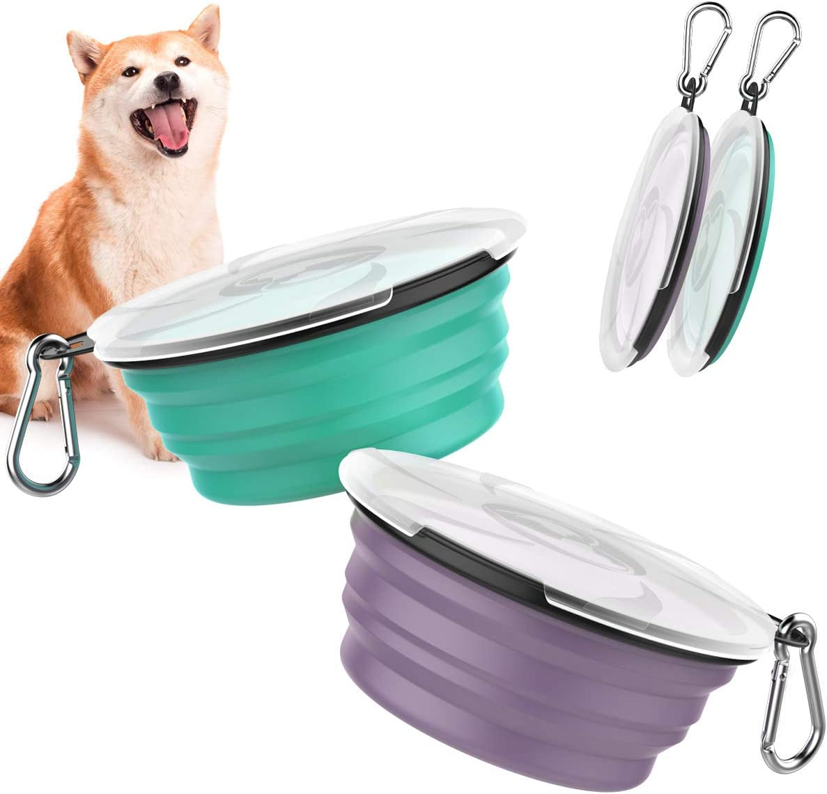 Pawaboo Collapsible Dog Bowls 2 Pack, Silicone Feeding Watering Bowls with Lids & Carabiners for Dogs Cats, Portable Collapsable Water Feeder Food Bowl for Walking Traveling Home Use