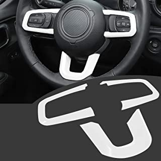 Bonbo Steering Wheel Trim Cover ABS Interior Decoration Accessories for 2018-2021 Jeep Wrangler JL JLU for 2020 2021 Jeep Gladiator JT 3PCS (White)